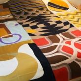 Quilt from silk vintage designer scarves