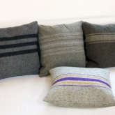 Pillows from vintage army blankets