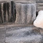 Rug, pillows from vintage astrakhan sheepskin coats