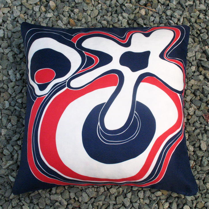 Pillow by Ouno Design made from vintage scarf by Sally Gee, 70% silk, 30% rayon, made in Japan