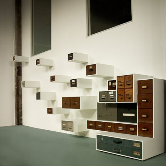 Czech designer Jaroslav Jurica's Drawerment, from vintage drawers.