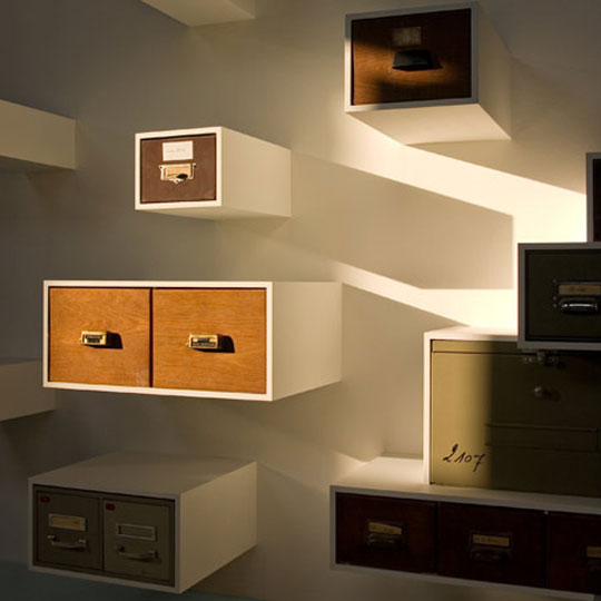 Czech designer Jaroslav Jurica's Drawerment, from vintage drawers, as seen on Apartment Therapy LA.