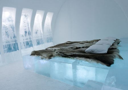 Fur blanket, made of reindeer hide, in the famous Swedish ice hotel