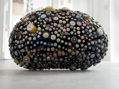 Dead Star, ball of dead batteries by Michel De Broin