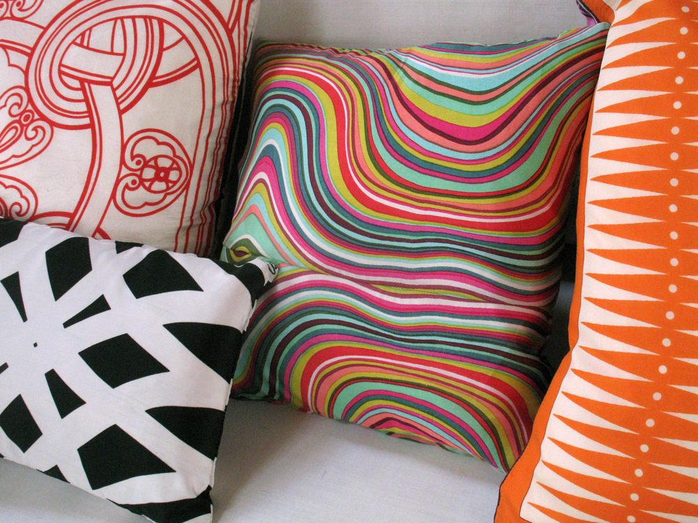 Vintage Silk Scarf Pillows by Ouno Design - eclectic mix