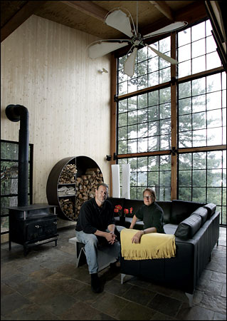 Olle Lundberg cabin made from recycled materials, main room