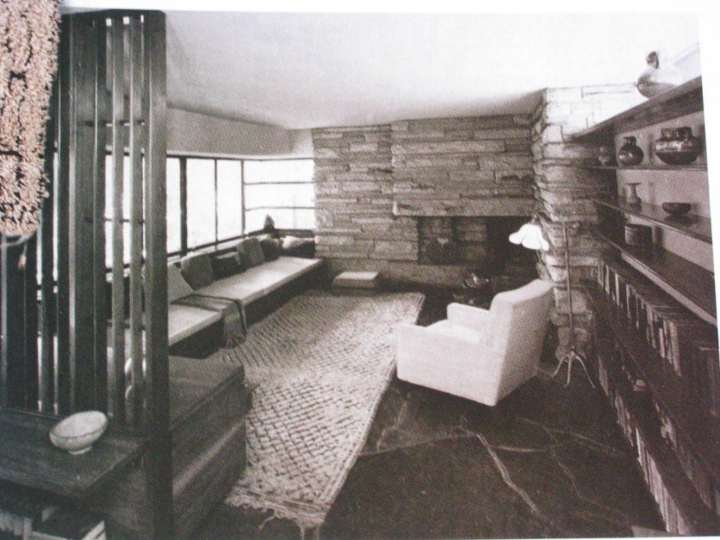 Berber rug in room by Frank Lloyd Wright