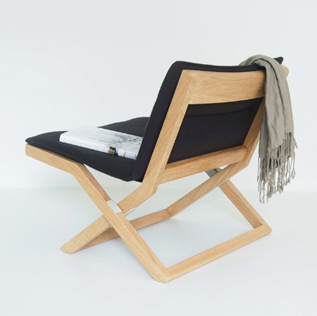maisondemarina folding oak and wool chair