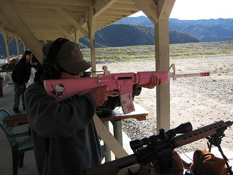 Pink gun with Hello Kitty.
