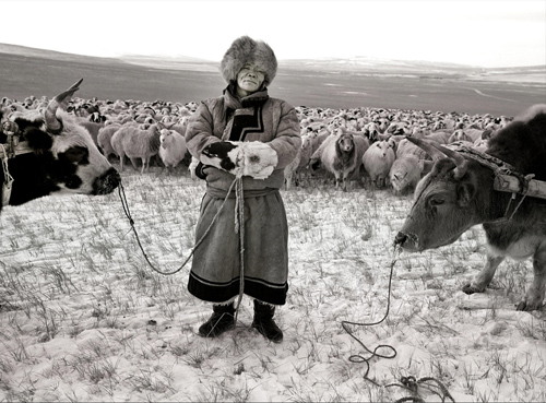 Nomadic herder in mongolia by A Yin for National Geographic