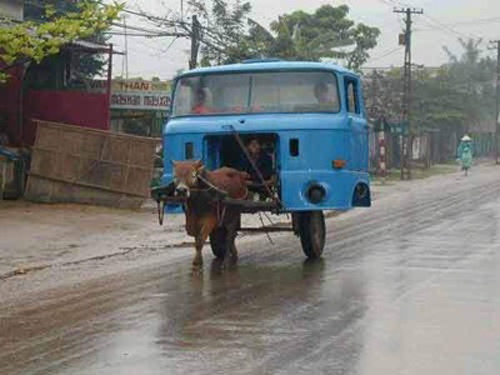 Moving truck cab via donkey
