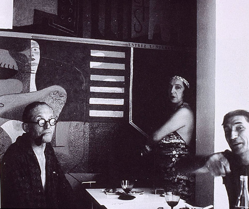 Corbusier, his wife & Jean Badovici in Eileen Gray's E1027 house