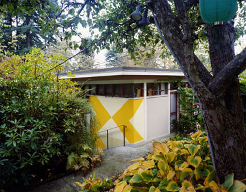 ENTRANCE WITH EXTERIOR MURAL, B.C. BINNING HOUSE (1940), WEST VANCOUVER, BERT BINNING, ARCHITECT, 1994, by Arne Haraldsson, 1994
