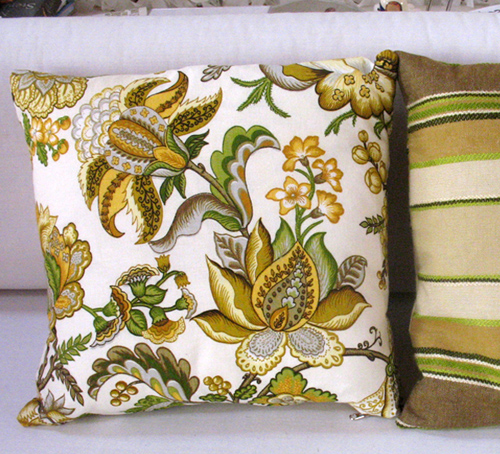 Pillow in baroque chartreuse floral by Ouno Design