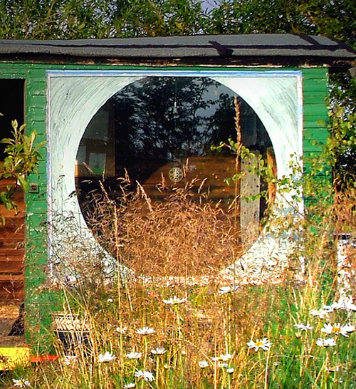 Annette's shack with round window in N.E. England