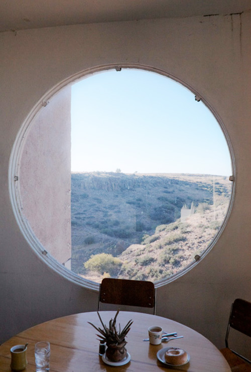 Arcosanti breakfast nook with round window, Arizona