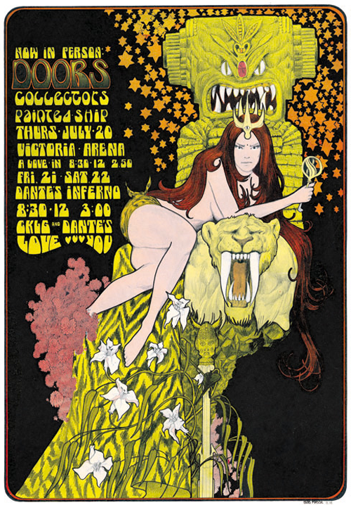 Doors poster by Bob Masse, Vancouver, 1967