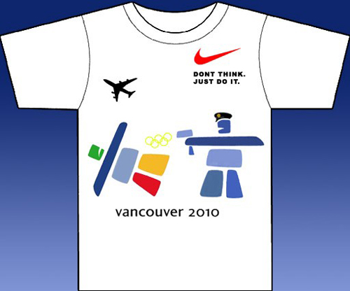 Riff on 2010 logo, with reference to police killing of innocent Polish tourist with taser at Vancouver airport