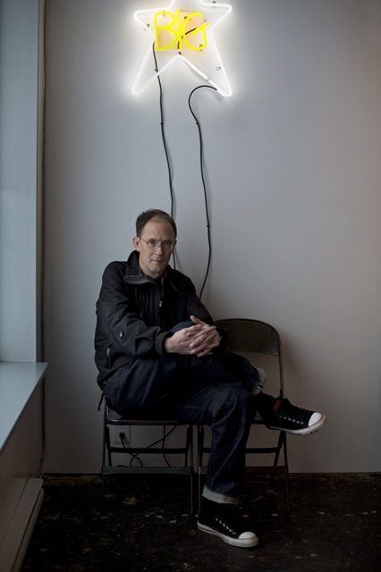 "William Gibson with Ron Terada's ""Big Star"", photo by Candace Meyer"