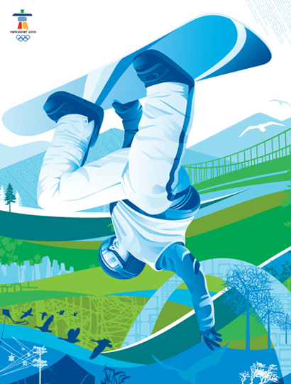 2010 Olympics graphics snow boarder