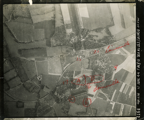 aerial WWII photo, Banneville in Normandy, France