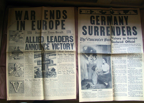 VE Day Vancouver papers