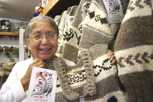 Emily Sawyer-Smith, Cowichan knitter, by D'Amour