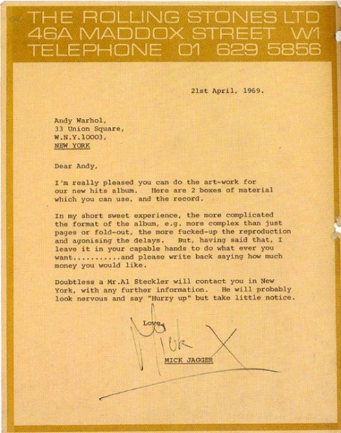 Mick Jagger Andy Warhol Letter