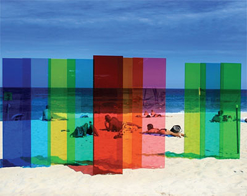 - Coloured perspex installation by Nicholas Elias on Sydney's Tamarama Beach