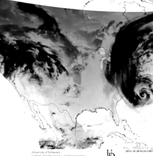 UD SRS GOES IR Animation of Hurricane Sandy