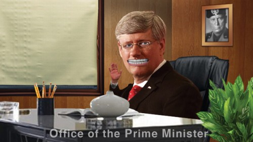 prime minister stephen harper satirized by ex_province newspaper cartoonist dan murphy