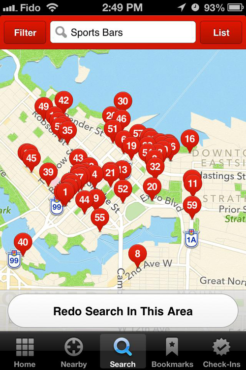 "Google map results for ""sports bars Vancouver"""