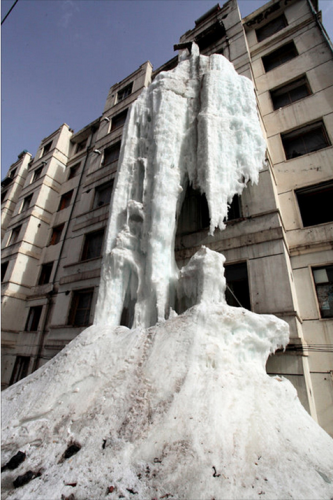 waterfall in Jilin City, China, outside building