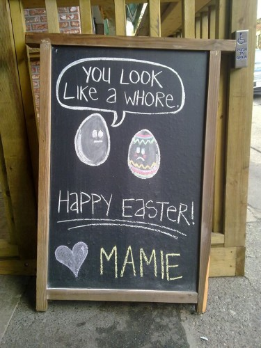 "Mamie Taylor's Sandwich Board - ""Whore"""