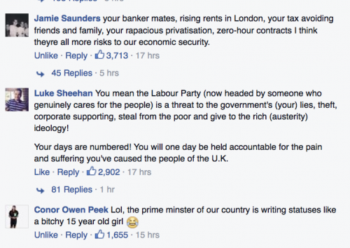 David Cameron Facebook comments