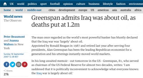 Greenspan admits Iraq War was for oil