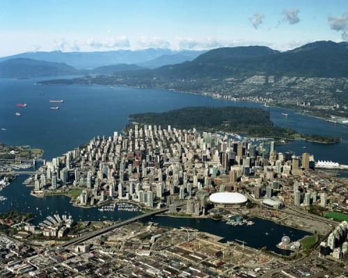 Vancouver aerial showing Stanley Park
